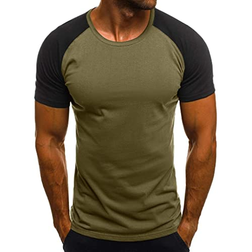 Honestyivan Mens Solid Color O-Neck Cotton Linen Short Sleeve Tops Casual Loose Simple T-Shirt Blouse Summer Large Size