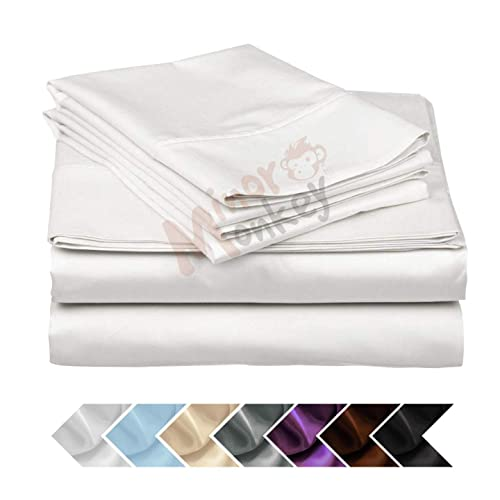"""1 pc Fitted Sheet with Super Deep Pocket up to 30/"""" Egyptian Cotton 1000tc White"""
