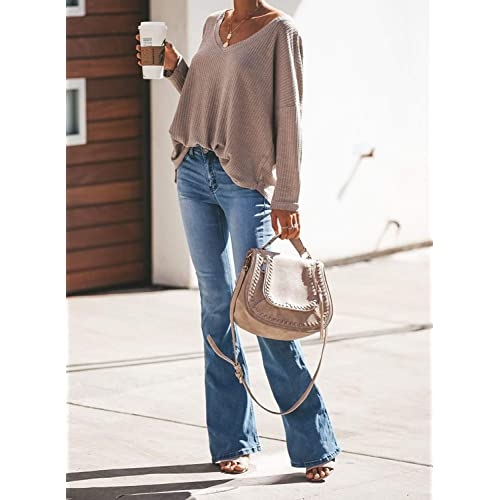 EVALESS Womens Long Sleeve Shirts Casual Loose Blouses Pullover Tops
