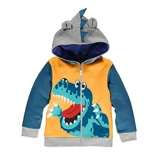 FANTASIEN Little Boys Winter Coral Fleece Dinosaur Zipper Hoodies Jacket Outerwear Windbreaker Coat for 1-6T Boy
