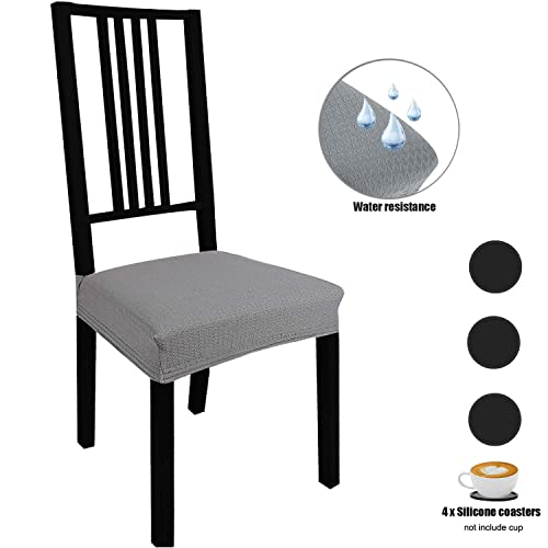 Buy Stretch Dining Room Chair Seat Covers 4 Pack With Elastic Ties And Button Waterproof Removable Washable Jacquard Anti Dust Chair Cushion Furniture Protector Slipcovers For Hotelofficeparty Grey Online In Kuwait B07y83wx85