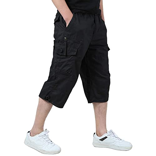 Mens Summer 3//4 Elasticated Waist Long Shorts Zip Pockets M-2XL