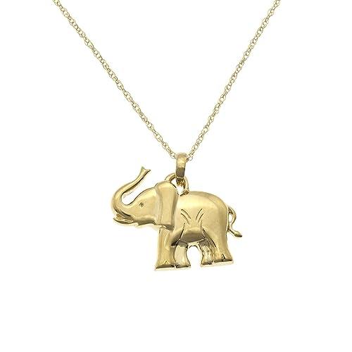 Jewel Tie Solid 14K Yellow Gold Elephant Pendant Charm 11x16 mm