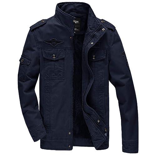 MAIERNISI JESSI Mens Cotton Thick Warm Military Jacket Parka Fleece Lined Coat