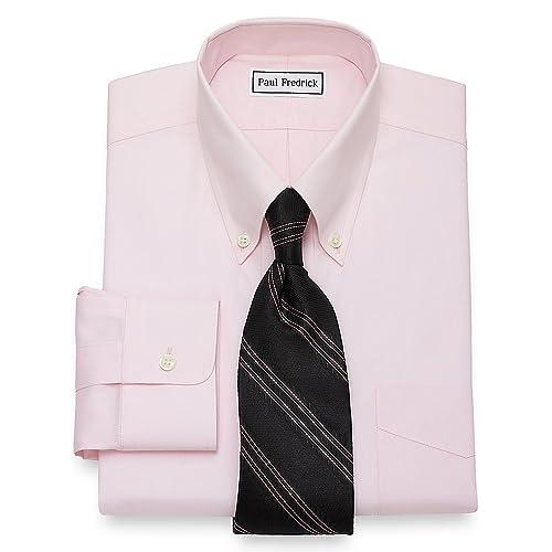 Paul Fredrick Mens Slim Fit Non-Iron Cotton Button Down Collar Dress Shirt Pink 18.0//34