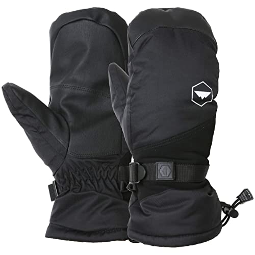 Shoveling Waterproof Nylon Shell Snowboarding Mitts Designed for Skiing Thermal Insulation /& Synthetic Leather Palm Winter Snow /& Ski Mittens with Wrist Leashes M4 - Black, Medium // Large