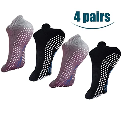 4 pack Women Yoga  Socks Non Slip Skid Pilates Barre New Fashion with Grips