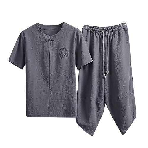Mens Plain Color Cotton Linen t Shirts Shorts Suit,Donci Plus Size Loose Comfort Summer Casual Emboitement Short Sleeve Tops