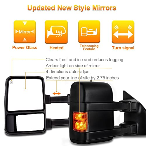 Autodayplus For Ford Towing Mirrors SCITOO Exterior Accessories Mirrors for 2007-2014 Ford F150 Truck with Power Controlling Heated Amber Turn Signal Manual Telescoping and Folding Chrome