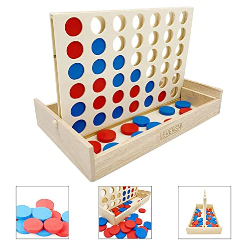 Buy Jevergn Wooden Wood 4 In A Row Game Classic Family Fun Toys Line Up 4 For Board Games Travel Games Online In Kuwait B07s3b52jb