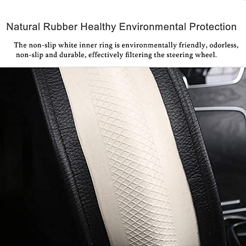 fit for cars,suvs,sedans,trucks(Black and Red) CAR PASS Double Layers Cool Universal Leather Steering Wheel Cover with perforated breathable design