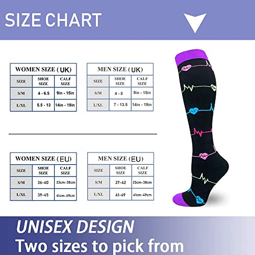 A-14 Black//White//Black,S//M Diu Life Compression Socks for Women /& Men Circulation 3//8 Pairs 20-25 mmHg is Best Support for Athletic Running Cycling