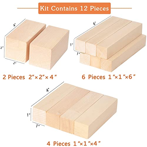 Newkiton Basswood Carving Block Blank Set with 12 Piece SKS7 Carbon Steel Tools Premium Unfinished Wood Carving Whittling Kit for Kids Adults Beginner or Professianl