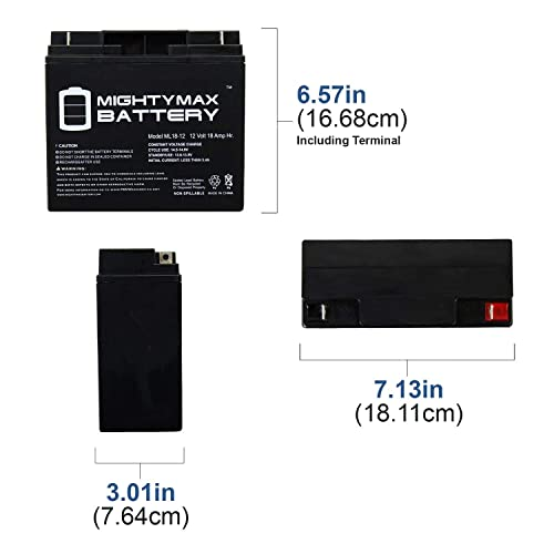Replacement for GS PORTALAC PX12170 Battery Replacement UB12180 Universal Sealed Lead Acid Battery 12V, 18Ah, 18000mAh, T4 Terminal, AGM, SLA