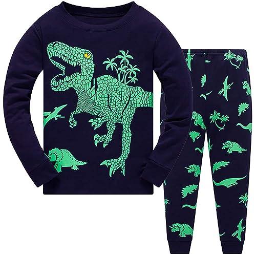 Qzrnly Boys Dinosaurs Pajamas Kids Long Sleeve Pjs Set Toddlers Cotton Sleepwear
