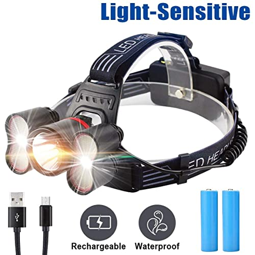 Head Torch Rechargeable Headlamp 5400mAh 1700 Lumens Super Bright Head Light