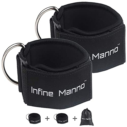 Infine Manno 2PCS Ankle Straps for Cable Machines Professional Paded Adjustable Strengthened Double Rings Straps with Comfort fit Neoprene for Glute /& Leg Workouts for Women /& Men Skin-Friendly