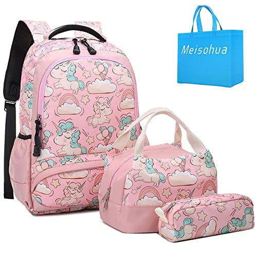 a98a14cbac86 School Backpacks Girls Unicorn Backpack with Lunch Bag and Pencil Case Kids  3 in 1 Bookbags Set School Bag for Elementary Preschool