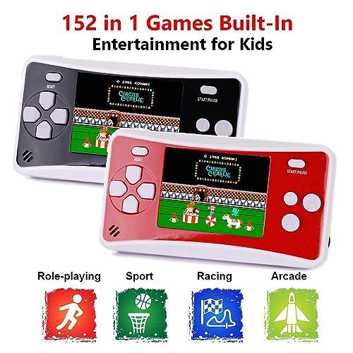 Birthday Presents for Children(Black) Losdz Handheld Game Console,Portable Video Game 3 Inch HD Screen 300 Classic Games,Retro Game Console for Player Classic Game Console 1 USB Charge