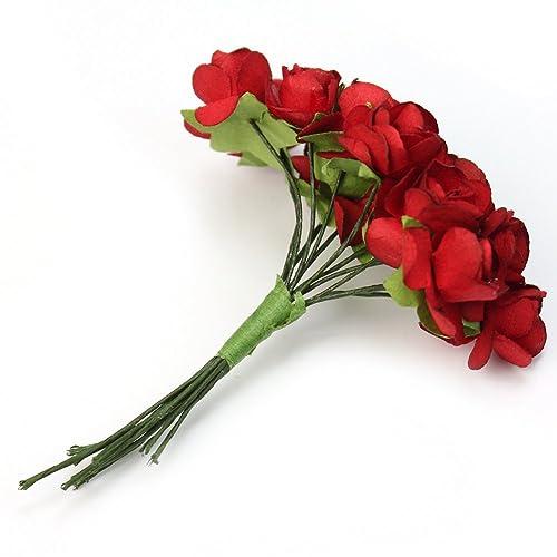 Red Pinzhi 144pc Chic Mini Artificial Paper Rose Flower Wedding Card Decor Craft DIY