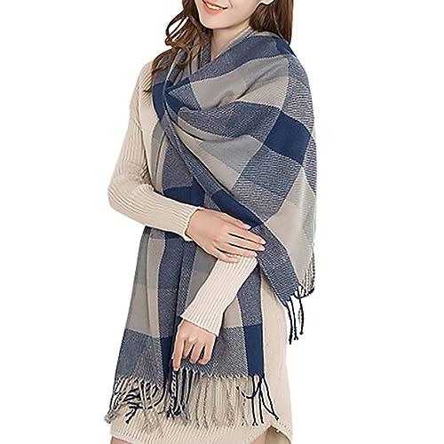 Women Men Large Thick Stripes Check Soft Warm Winter Autumn Scarf Shawl Wrap UK