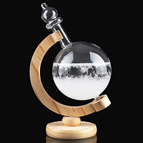 Wifehelper Storm Glass Drop-Shaped Weather Station Weather Predictor with Wooden Base Home Office Decoration