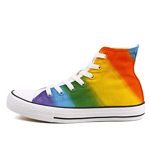 a39bc4b60cbc7 Hand Painted High Top Rainbow Canvas Shoes Sneakers
