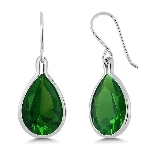 Dainty Teardrop Simulated Emerald Dangle Leverback Earrings in Sterling Silver
