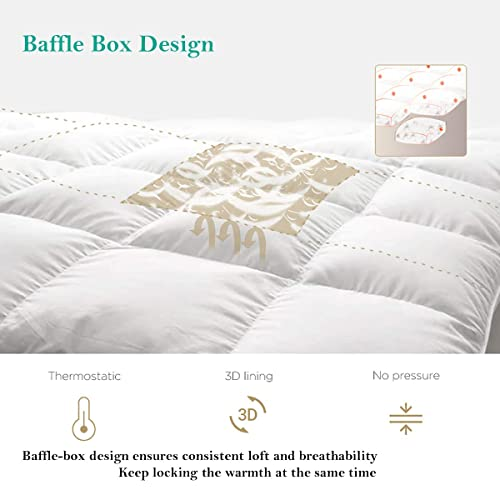 Abakan Luxury Down Alternative Comforter Twin Size 100/% Cotton Cover-Soft Fluffy,Stand Alone Bedding Comforter,Lightweight,Hypo-allergenic,Hotel Quality Quilted with 4 Corner Tabs,64x88 inch-White