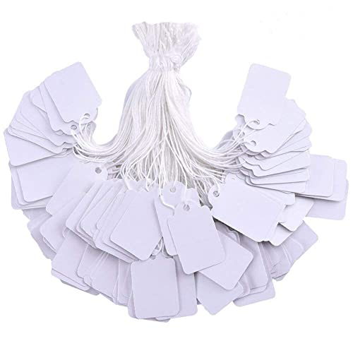Kraft 1.02 x 0.47 Inch 300 Packs Marking Tags Price Tags Writable Blank Price Labels Display Tags with Elastic Hanging String