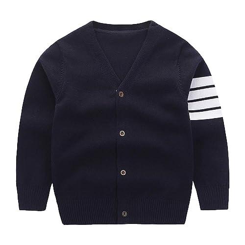 Motteecity Fashion Boys Long Sleeve Woolen V-Neck British Style Cardigan