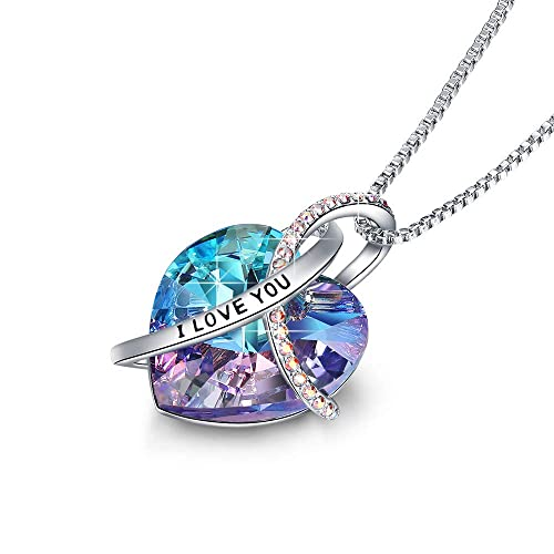 c67cef0f49238 EleShow Heart Pendant Necklace for Women Teen Girls I Love You Necklace  Made with Swarovski Crystals