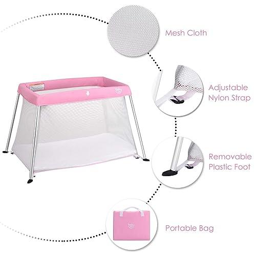 BABY JOY Baby Playpen Ultra-Light Aluminum Portable Travel Crib with Comfy Ma...