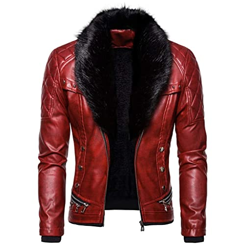 K3K New Mens PU Leather Thickening Faux Fur Lined Zipper Jacket