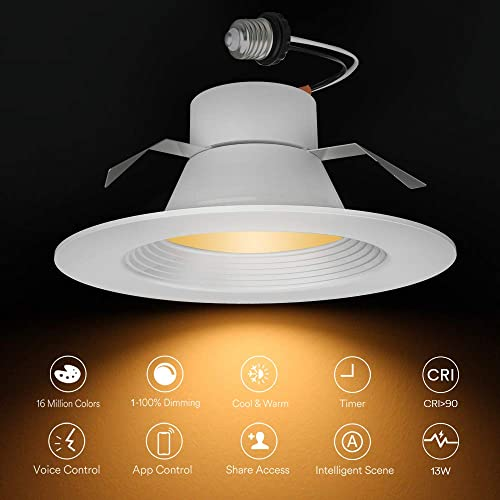 Colour Dimmable RGBWW 2700K-6500K Can Light Music Sync Compatible with Alexa Google Assistant,120W Equivalent Lumary 12W WiFi LED Recessed Downlight Ceiling Panel Light Smart Recessed Lighting