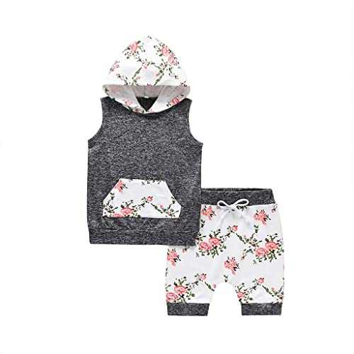 AW Toddler Baby Boys Girls Plaid Pocket Print Flower Sweatshirt Hooded Coat Jackets Stretchy Tops Pants Set