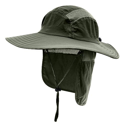 MK MATT KEELY Outdoor Mens Summer Neck Flap Sun Hat Boonie Hat Large Brim Sun Protection Bucket Mens Fishing Hats Hiking Hat