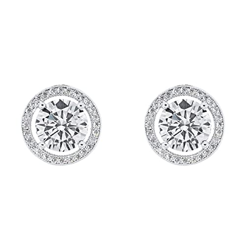 fed64a249 Cate & Chloe Ariel 18k White Gold Plated Halo CZ Stud Earrings, Silver  Simulated
