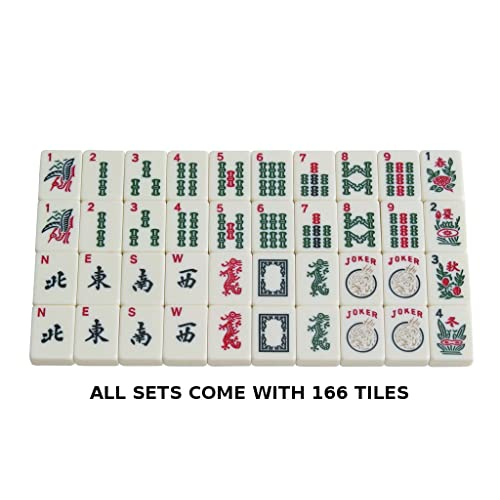 166 Tile American Mahjong Set Red Phoenix Soft Bag 4 Color Pushers//Racks