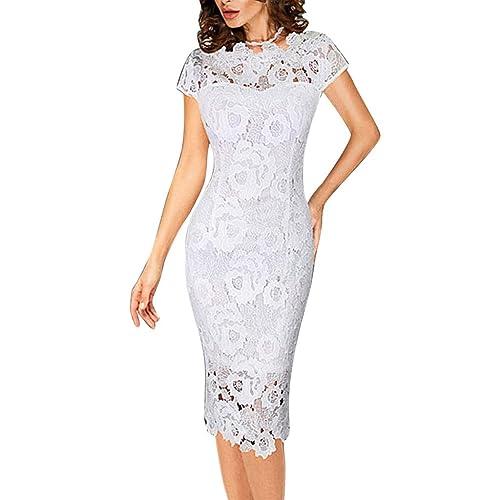 Women/'s Elegant Round Neck Short Sleeves Knee Lenght Midi Lace Dress FK1573