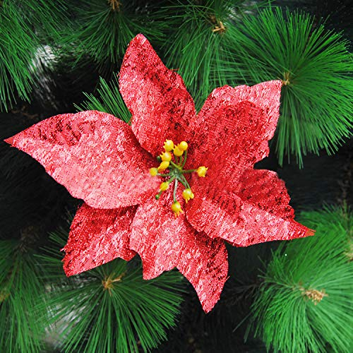 Worldoor 12 Pcs 13cm Christmas Tree Decorative Silk Flower Gold Poinsettia Bush And Red Poinsettia Bush Artificial Flowers Christmas Tree Ornaments Red Buy Products Online With Ubuy Kuwait In Affordable Prices B082vbpxm8