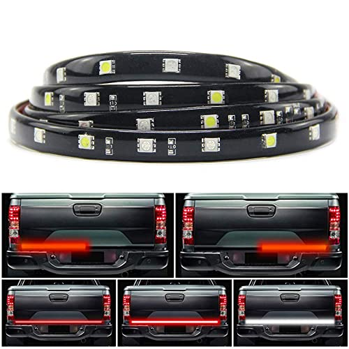 JUNEVEN 60 Inches Tailgate Light Bar Double Row LED Light Strip Brake Running Turn Signal Reverse Tail Lights for Trucks Trailer Pickup Car RV Van Jeep Towing Vehicle,Red White,No Drill