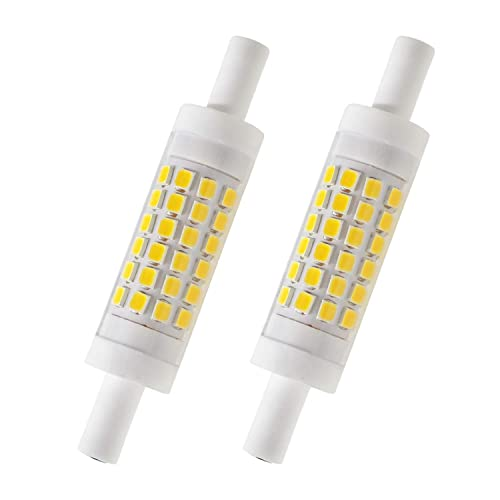 CTKcom R7S 78mm LED Bulbs 2 Pack J Type 78mm Double Ended 5W 120Volts Halogen Bulbs Daylight White 6000K,R7S Double Ended Filament Flood Lights Quartz Tube Lamps 50W Replacement Halogen Bulb,2 Pack
