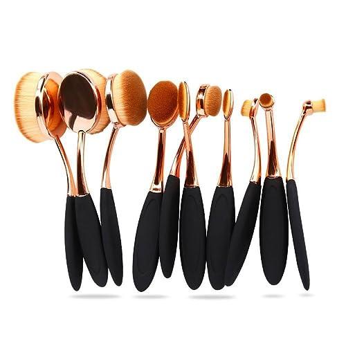 b2f24f333726 Oval Foundation Makeup Brush Sets Powder Blusher Toothbrush Curve Cosmetic  Brushes Tool Kits Rose Gold (10pcs)