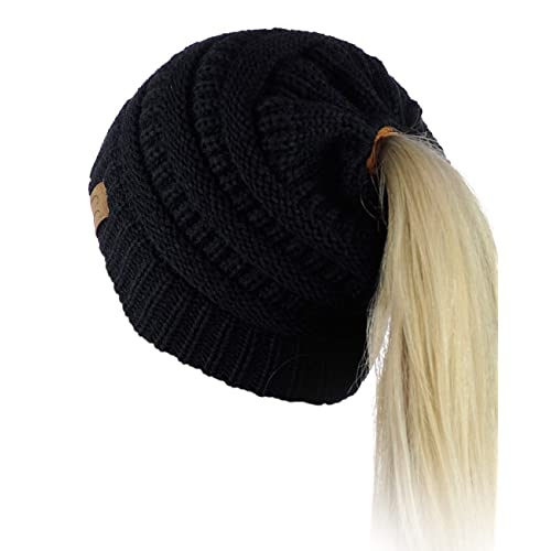 18c495e2189d96 Buy C.C BeanieTail Soft Stretch Cable Knit Messy High Bun Ponytail Beanie  Hat with Ubuy Kuwait. B01N5T4GLI
