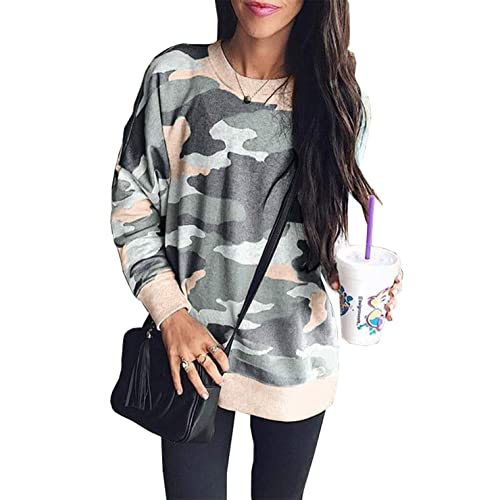 8c73fcd0d56774 Buy BTFBM Women Camouflage Print Long Sleeve Crew Neck Loose Fit Casual  Sweatshirt Pullover Tops Shirts with Ubuy Kuwait. B07JKVXPTS