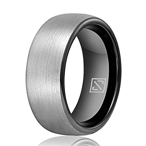 Size 7.5 to 13 Polish Beveled Edge Engagement Promise Rings for Couples Matte Finish Luxffield Tungsten Carbide Rings 6MM 8MM Black//Silver//Rose Gold Mens Wedding Bands Comfort Fit