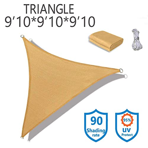 10 x 10 x 10 Waterproof Tarps Canopy with built-in LED lights for Outdoor Garden Naconic Triangle Patio Sun Block Shade Sail