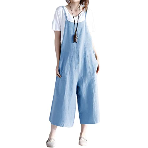 Drindf Womens Loose Linen Wide Leg Jumpsuit Rompers Bib Long Suspender Overalls Harem Pants Plus Size S-5XL
