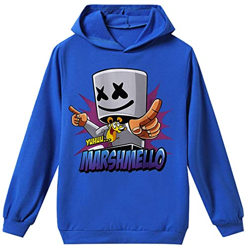 Silver Basic DJ Marshmello Hoodie Boys Tracksuit Kids Size Long Sleeve Top and Trousers Sweatsuits